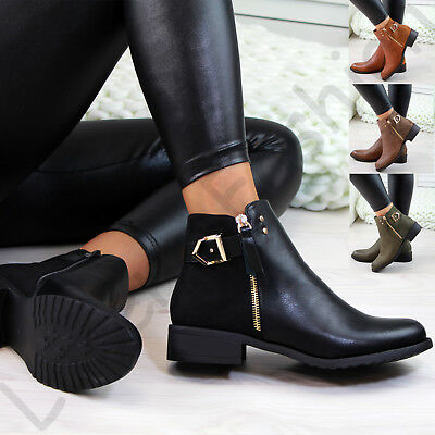 New Womens Ladies Flat Ankle Boots Buckle Side Zip Low Heel Casual Shoes Sizes