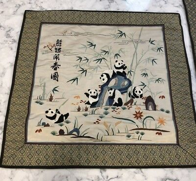 """Vintage Pandas Bamboo Chinese Silk Embroidery Panel - 17"""" x 17"""""""