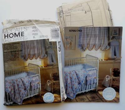 McCalls Craft 5795 NEW BABY NURSERY pattern quilt bumpers nappy stacker curtains