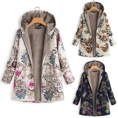 1x Women Lady Winter Thick Outwear Floral Print Hooded Warm Pockets Coat Jacket