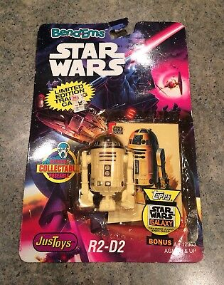 1993 Star Wars Just Toys Bend Ems R2-D2 Collectible Figure + Topps Cards - New
