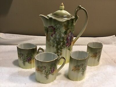 "Vtg ""BAVARIA"" 6 PIECE HOT CHOCOLATE/COFFEE/TEA SET SIGNED ARTIST A. Koch Kach"