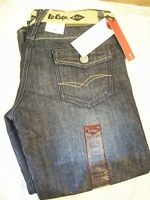 boys blue denim cotton with belt lee cooper jeans straight cut new in packs