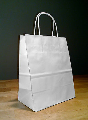 100 White Paper Cub Shopping Bags with Rope Handles 8.25 x 4.75 x 10.25