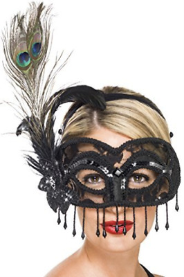 `Colombina Lace Eye Mask, on a Headband, Black, with Peacock Feathe... ACC NEW