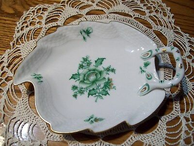 Herend Porcelain Handpainted Green Leaf Nanking Bouquet Vert Pin Dish, 5""