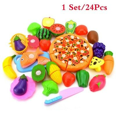 24pcs Kids Pretend Role Play Kitchen Fruit Vegetable Food Toy Cutting Set Gift A