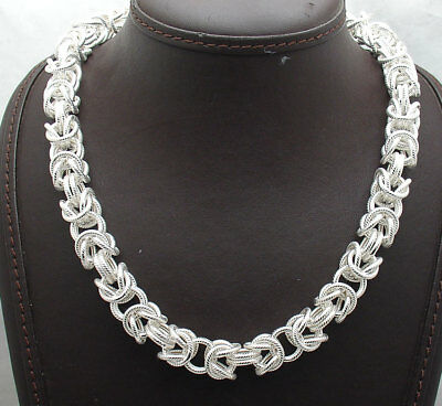 """18"""" Textured Bold Round Byzantine Chain Necklace Chain Real 925 Sterling Silver"""
