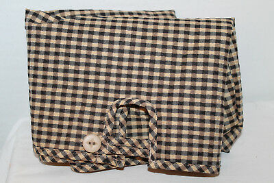 Longaberger Fabric Liner For Craft Keeper Basket In Khaki Check