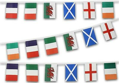 Six NATIONS FABRIC BUNTING 6M 18ft England Wales Scotland Ireland Italy France
