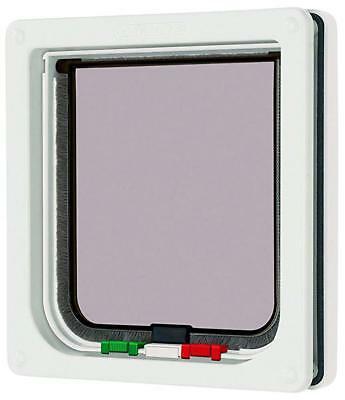 Petmate 4 Way Locking Cat Flap With Liner in White 361W Catflap Mate