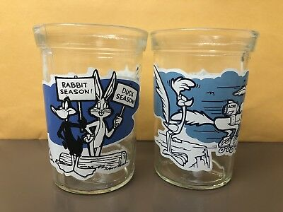1994 WELCH'S LOONEY TUNES SERIES JELLY GLASSES #8 & #11 Daffy Duck/Bugs Bunny