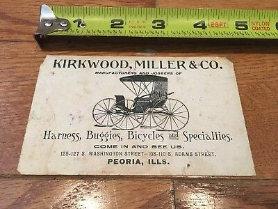 1800s  Puzzle Advertising Trade Card Kirkwood Miller Buggies Bicycles Peoria IL