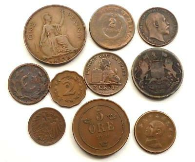 Foreign World Coins Lot Of 10,  Some Old Dates See Pics, 0.99 Cents Auction
