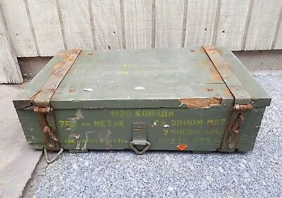Vintage Russian Ammunition Military Wooden Crate 7.62 Ammo Box Case Dated 1971