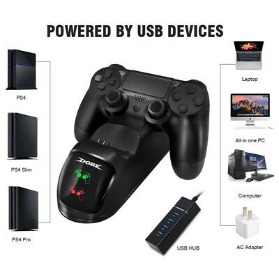 PS4 Dual Controller Fast Charger Charging Dock Station Stand Gamepad New O3E6Z