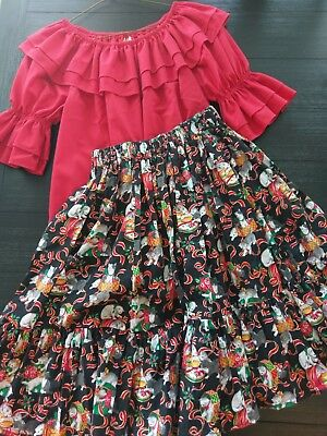 Square Dance Playful Kittens Christmas Skirt & Malco Modes Red Blouse Size S