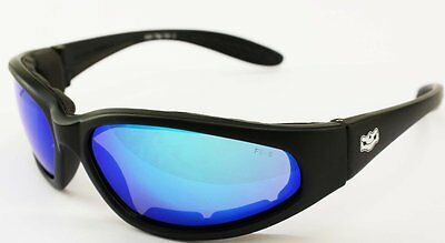Fat Skeleton Grand Tour Blue G Tech Motorcycle Padded Biker Sunglasses + pouch