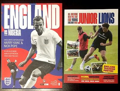 England v Nigeria Official Programme With Free Pullout 2nd June 2018