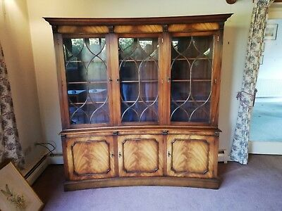 Large Mahogany Curved Fronted Cabinet – Reproduction