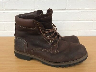 Mens TIMBERLAND Brown Leather Fashion Hiking BOOTS UK 10 Good Used Condition