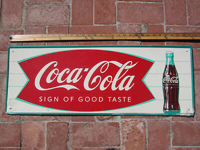"Vintage Coca-Cola 1960's Metal Sign of Good Taste Fishtail 32""x12"""