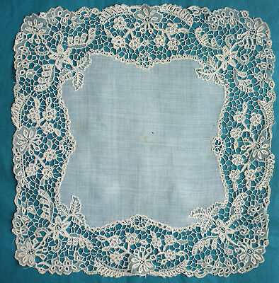 Antique Youghal needle lace handkerchief