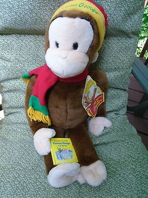 """Macy's 24"""" CURIOUS GEORGE Plush 2001 With Mini Book And Tag Holiday Hat/ Scarf"""
