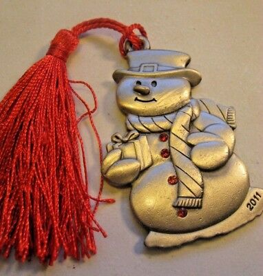 2011 Avon Pewter Christmas Ornaments - Snowmas with Ruby Buttons & Gift