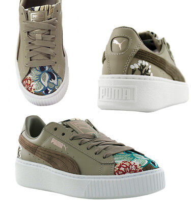 133d724604a3 Puma Platform Hyper Embroidered Lace Up Womens Trainers Taupe 366123 03 D107
