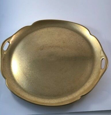 Pickard Gold Cake Plate Handles Platter Encrusted Rose Daisy Tray  722 Vintage