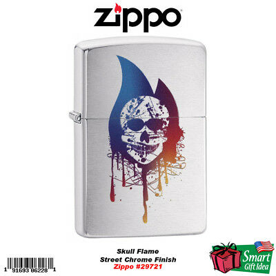 Zippo Skull Flame, Street Chrome Finish, Genuine Windproof Lighter #29721