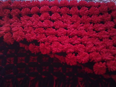 hand made black and red pom pom/bobble blanket  approx 25 inch x 32inch