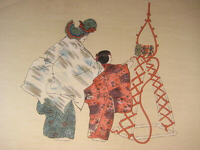 ANTIQUE JAPANESE (c.1926) UKIYOE WOODBLOCK PRINT NOH PLAY BY KOGYO TSUKIOKA