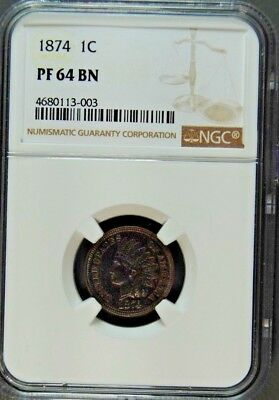 1874 Indian Cent Ngc Proof 64 Brown