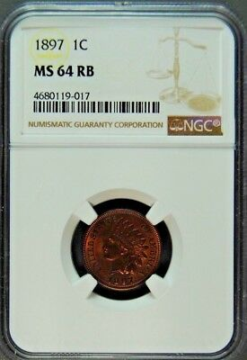 1897 Indian Cent Ngc Ms-64 Red & Bown.