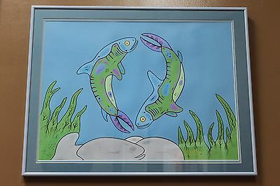 """""""Untitled"""" original acrylic on paper native painting by David Morrisseau Framed"""