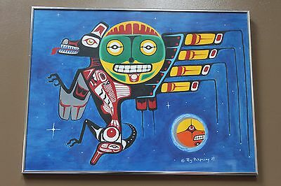 """1989 """"Untitled"""" original acrylic on paper native painting by Roy Pahpasay Framed"""