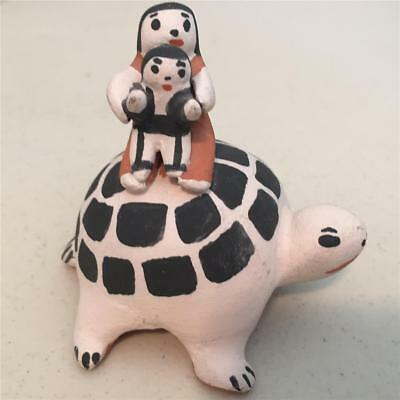 Cochiti Pueblo Native American  Storyteller With Child Seated On A Turtle - Mfh