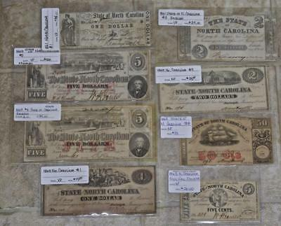 Lot Of 9 Notes, North Carolina Civil War Era Currency, .05 Cents to $5.00