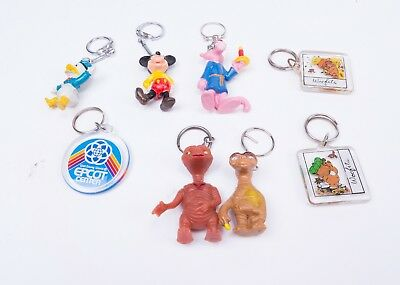 Vintage Keyrings: Disney Epcot, Mickey, Donald Duck, Pink Panther, ET, Woofits