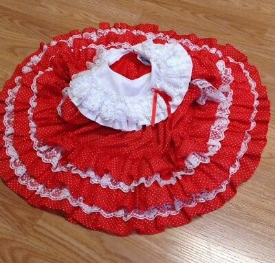 Vintage Red Dot Ruffle Circle Dress Baby Fayette Christmas Holiday 6-12M