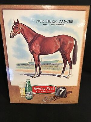 Rolling Rock Beer Sign Northern Dancer Horse Kentucky Derby Winner 1964 Vintage