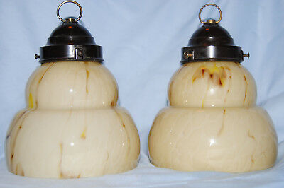 VINTAGE MATCHING PAIR of ART DECO GLASS SHADES