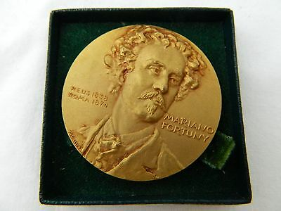 MARIANO FORTUNY SPANISH Painter Gilt Bronze Medal Coin X&F Calico Barcelona