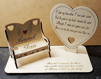 Memorial Plaque, Missed Loved Ones, Personalised  Chair,  for year round use