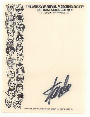 Merry Marching Society Official Scribble Pad - 1967 Signed by Stan Lee