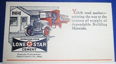 """6"""" X 3-3/8"""" 1920S Lone Star Cement Blotter--Albany, N.y.--Super Shape!"""