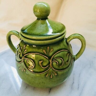 Vintage French Sugar Bowl Covered By Provence Le Poet-Lavel Green Glazed Pottery