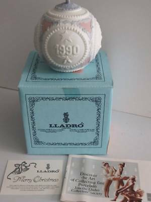 Vintage Lladro Porcelain Christmas Ball Ornament 1990 With Box Papers